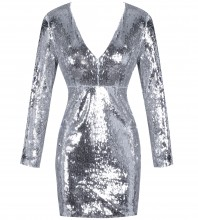 Silver V Neck Long Sleeve Mini Sequin Evening Bodycon Dress HI1001-Silver