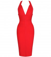 Red Halter Sleeveless Over Knee Plain Backless Good Quality Bandage Dress PF19008-Red