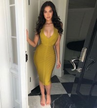 Rayon - Yellow Halter Sleeveless Over Knee V Neck Flat High Quality Bandage Dress HJ628-Yellow