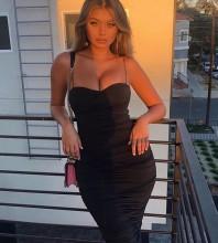 Black Strap Sleeveless Maxi Sexy Bodycon Dress LY001-Black