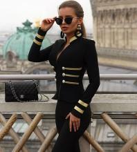 Black Round Neck Long Sleeve Stripe Fashion Bandage Jacket HB5680-Black