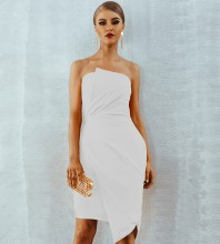 White Strapless Sleeveless Knee Length Wrinkled Irregular Evening Bodycon Dress HI960-White