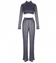 Silver High Neck Long Sleeve 2 Piece Mesh Party Bodycon Dress HI978-Silver