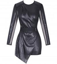 Rayon - Black Round Neck Long Sleeve Mini Mesh Fashion Bodycon Dress SW061-Black