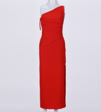 Red One Shoulder Sleeveless Maxi Side Slitted Wrinkled Party Bodycon Dress HI962-Red