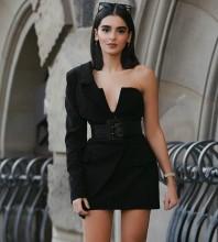 1:1 HL Quality - Black One Shoulder Sleeveless 2 Piece Fashion Bodycon Dress H0196-Black