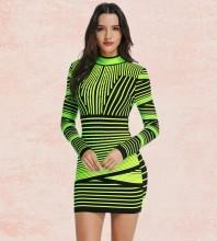 Green Round Neck Long Sleeve Mini Fringe Fashion Bandage Dress PP0101-Green