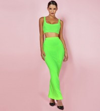 Neon Green Strapy Sleeveless Maxi 2 Piece Bandage Set PF19071-Neon-Green