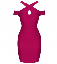 Rayon - Red Halter Cap Sleeve Mini Hollow Out Back Zipped Wholesale Bandage Dress SW039-Red