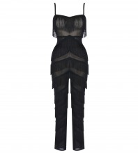 Rayon - Black V Neck Sleeveless Maxi Mesh Tassels High Quality Bodycon Jumpsuits H0154-Black