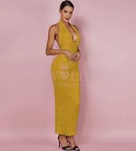 Ginger Halter Sleeveless Mini Fashion Bandage Dress PF0901-Ginger