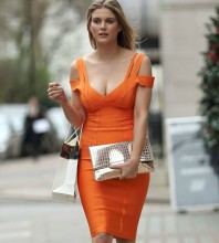 Party Strapy Cap Sleeve Mini Orange Bandage Dress HK003-Orange