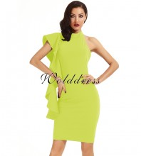 Yellow Halter Sleeveless Knee Length Ruffles Elegant Bodycon Dress HD398-Yellow
