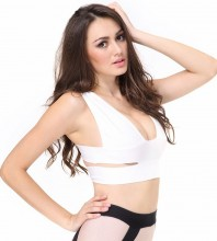 New Strap Ladies White Deep V Neck Fashion Knitted Bandage Crop Top BFP001-White