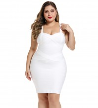 White Plus Size Striped Over Knee Sleeveless Strapy Bandage Dress DF0701-White
