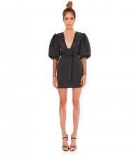 Black Tie Mesh Mini Long Sleeve V Neck Bandage Dress DFP19408-Black