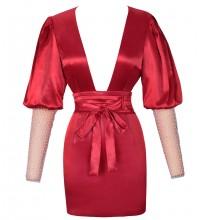 Red Tie Mesh Mini Long Sleeve V Neck Bodycon Dress DFP19408-Red
