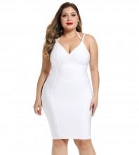 White Plus Size Striped Over Knee Sleeveless Halter Bandage Dress DK0704-White