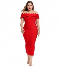 Red Plus Size Wavy Maxi Short Sleeve Off Shoulder Bandage Dress DK0705-Red