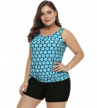 Womens Plus Size Racerback Tankini Set Two Piece Swimwear with Boyshort Light Blue