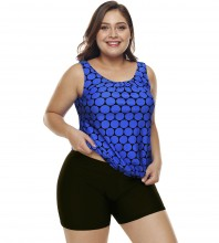 Womens Plus Size Racerback Tankini Set Two Piece Swimwear with Boyshort Blue