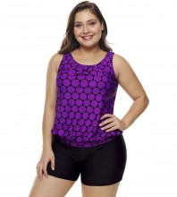 Womens Plus Size Racerback Tankini Set Two Piece Swimwear with Boyshort Purple