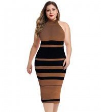 Brown Striped Over Knee Sleeveless High Neck Bandage Dress DP19160-Brown