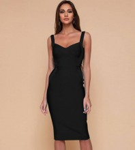Over Knee Black Strappy Striped Bandage Dress DPF19047-Black
