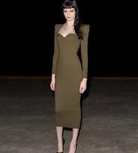 Green Zipper Plain Over Knee Long Sleeve Square Collar Bandage Dress DPF20007-Green