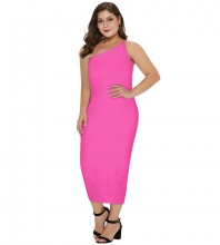 Rose Plus Size Plain Over Knee Sleeveless One Shoulder Bandage Dress DPHK054-Rose