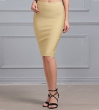 Women's Apricot Rayon Stretchy Bandage Pencil Midi Skirt For Office Wear DZ001-Apricot