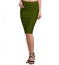 Women's Green Rayon Stretchy Bandage Pencil Midi Skirt For Office Wear DZ001-Green