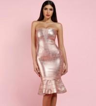 Gold Strapless Sleeveless Mini Foil Printing Fishtail Fashion Bandage Dress HF138-Gold