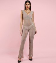 Rayon - Beige V Neck Sleeveless Maxi Meshsee Through Sexy Bodycon Jumpsuits HJ660-Beige