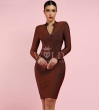Brown Round Neck Long Sleeve Mini Fashion Bandage Dress PF0903-Brown