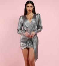 Silver V Neck Long Sleeve Mini Party Bodycon Dress FDJ001-Silver