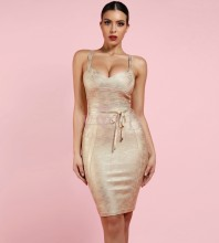 Gold Stamp Strapy Sleeveless Bandage Tie Fashion Bandage Dress FDZ003-Gold