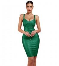 Green Fashion Tie Mini Sleeveless Strapy Bandage Dress FDZ003-Green