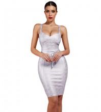 Silver Fashion Tie Mini Sleeveless Strapy Bandage Dress FDZ003-Silver