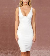 White V Neck Sleeveless One Piece Stripe High Waist Sexy Bandage Dress FHF19011-White