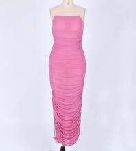Pink Strap Sleeveless Maxi Sexy Bodycon Dress LY001-Pink