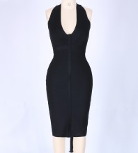 Black Halter Sleeveless Knee Length Stripped Sexy Bandage Dress PP0607-Black