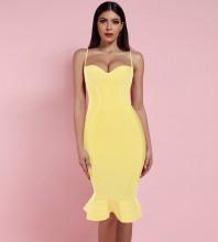 Yellow Fishtail Over Knee Sleeveless Strapy Bandage Dress PP19123-Yellow