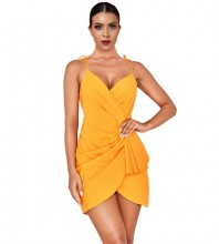 Yellow Lace Up Mini Sleeveless Strapy Bodycon Dress HI1063-Yellow