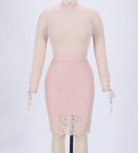 Rayon - Round Neck Long Sleeve Mini Lace Evening Bandage Dress HJ622-Nude