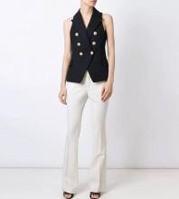 Black V Neck Sleeveless Mini With 6 Buttons Fashion Bodycon Top FL028-Black