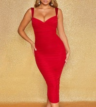 Over Knee Red Strappy Wrinkled Backless Bodycon Dress FLY19260-Red