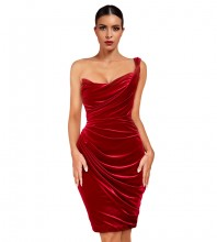 Mini Red One Shoulder Wrinkled Asymmetrical Bodycon Dress FLY19280-Red