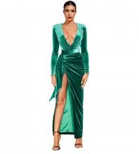 Maxi Green V Neck Tie Slit Bodycon Dress FLY19281-Green