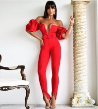 Red Off Shoulder Short Sleeve  Girdle Slit Bodycon Jumpsuits FP091408-Red